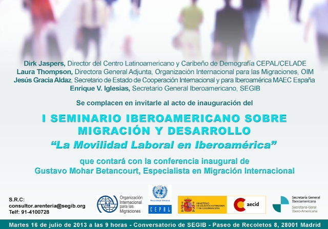 Invitación I seminario iberoamericano sobre migracion y desarrollo